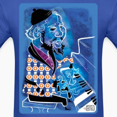 Jazz Man Blue at Piano by Sather T-Shirts