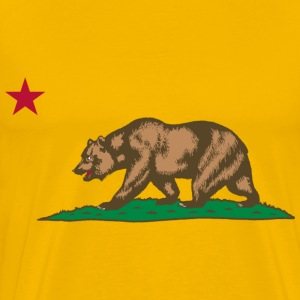 Flag of California Bear, Plot and Star - Men's Premium T-Shirt