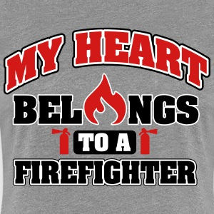 My heart belongs to a firefighter Women's T-Shirts - Women's Premium T-Shirt
