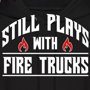 Still plays with fire trucks Hoodies - Men's Hoodie