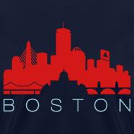 Design ~ Boston Skyline Navy Red Women's T-shirt
