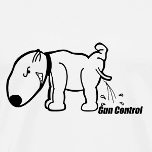 Dog Peeing on Gun Control - Men's Premium T-Shirt