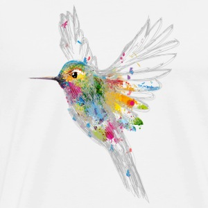 Hummingbird Watercolor Graffiti T-Shirts - Men's Premium T-Shirt