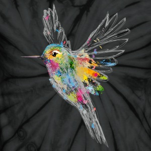 Hummingbird Watercolor Graffiti T-Shirts - Unisex Tie Dye T-Shirt