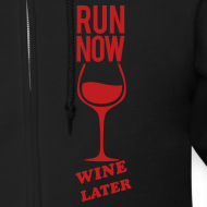 Design ~ run now wine later | Mens zipper hoodie