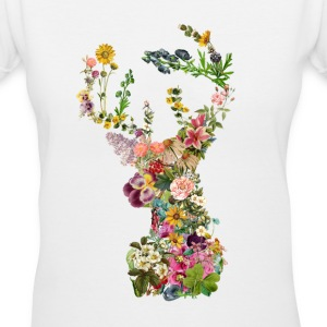 Deer of Flower Forest - Women's V-Neck T-Shirt