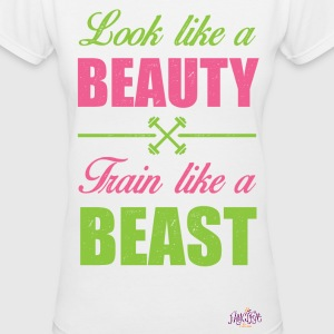 Look Like A Beauty, Train Like A Beast - Women's V-Neck T-Shirt