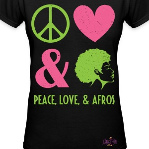 Peace, Love, and Afros - Women's V-Neck T-Shirt