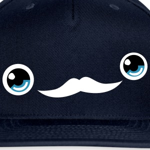 Cute Moustache Face Cap (Blue) - Snap-back Baseball Cap