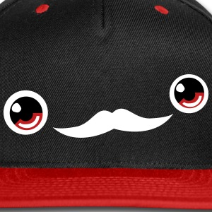 Cute Moustache Face Cap (Red/Black) - Snap-back Baseball Cap