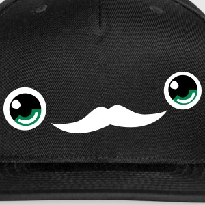 Cute Moustache Face Cap (Black) - Snap-back Baseball Cap