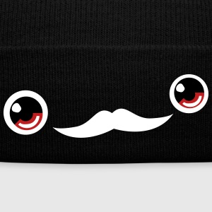Cute Moustache Face Beanie (Red) - Knit Cap with Cuff Print
