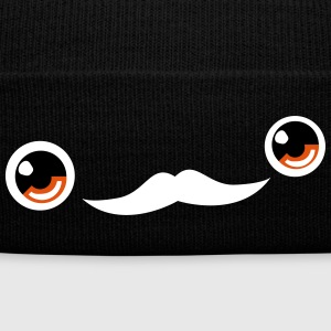 Cute Moustache Face Beanie (Black) - Knit Cap with Cuff Print