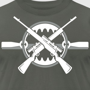 Crossed rifles over bear trap T-Shirts - Men's T-Shirt by American Apparel