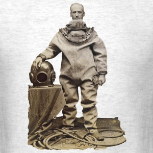 Vintage 19th Century Diver and Helmet - Men's T-Shirt