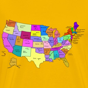 United States Map With Capitals, and State Names - Men's Premium T-Shirt