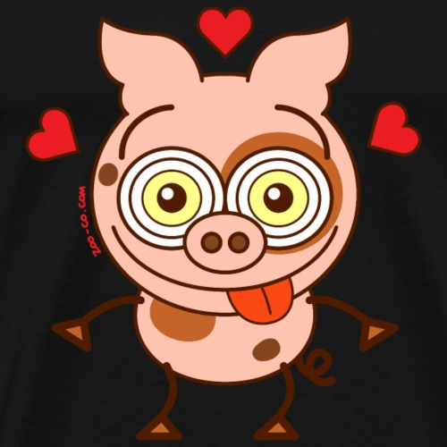 Cute pig feeling madly in love
