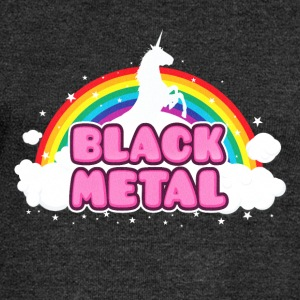BLACK METAL! (Funny Unicorn / Rainbow Mosh Parody Long Sleeve Shirts - Women's Wideneck Sweatshirt