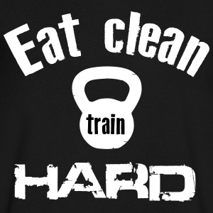 Eat Clean Train Hard - Kettlebell T-Shirts - Men's V-Neck T-Shirt by Canvas