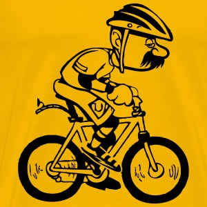 Bicycle funny cartoon old man T-Shirts - Men's Premium T-Shirt
