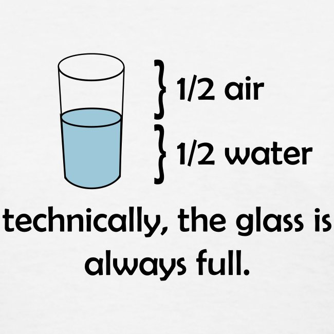 Technically the glass is always full (F)