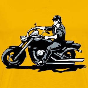 Motorcycle chopper cool steel helmet T-Shirts - Men's Premium T-Shirt