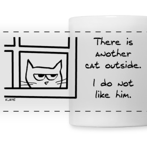 Angry Cat Sees Another Cat - Panoramic Mug