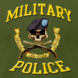 Military Police Skull w Beret - Men's T-Shirt by American Apparel
