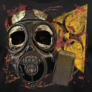 Design ~ Biohazard Skull Gas Mask on American Apparel  Mens T Shirt