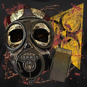 Biohazard Skull w Gasmask - Men's T-Shirt by American Apparel