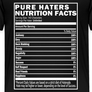 Pure Haters Nutrition Facts, Black T-Shirts  - Kids' Premium T-Shirt