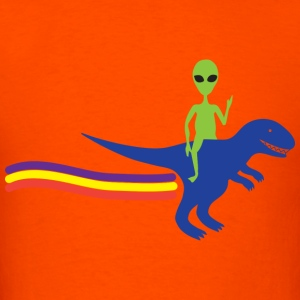 Alien on T-Rex - Men's T-Shirt