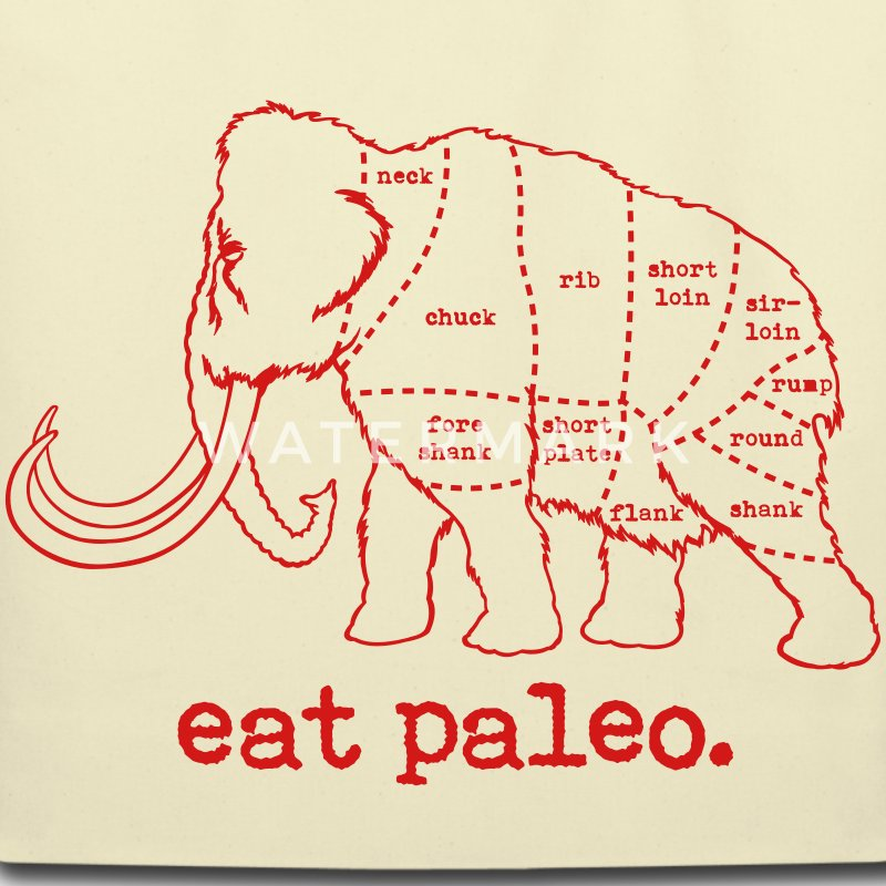 Woolly Mammoth Butcher Cut Paleo Diet Bag - Eco-Friendly Cotton Tote
