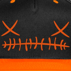 Cross stitch Face Cap (Orange) - Snap-back Baseball Cap