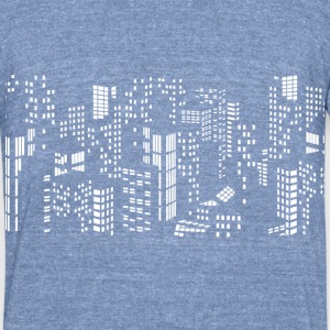 City skyline buildings - Unisex Tri-Blend T-Shirt by American Apparel