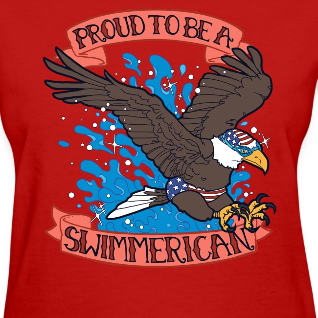 LADIES Proud To Be A Swimmerican RED
