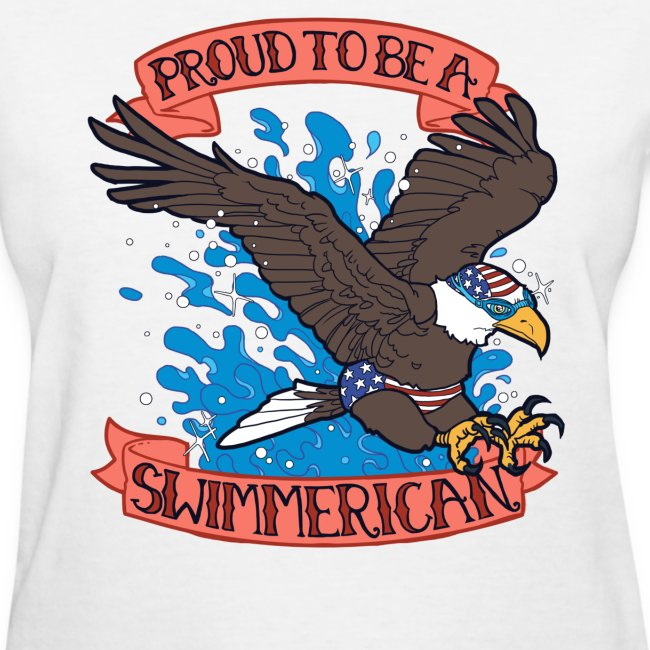 Ladies Proud To Be A Swimmerican WHITE