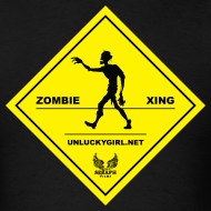 Design ~ Zombie Crossing (Unlucky Girl) Men's T-SHirt