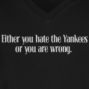 Hate the Yanks Baseball T-Shirts - Men's V-Neck T-Shirt by Canvas