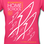 Design ~ HOME SCHOOL (Multicolor on Pink Women's V-Neck) Version 2