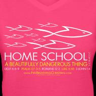 Design ~ HOME SCHOOL (Multicolor on Pink Women's V-Neck) Version 1