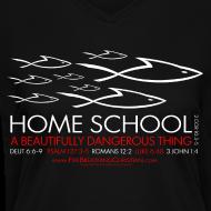 Design ~ HOME SCHOOL (Multicolor on Black Women's V-Neck) Version 1