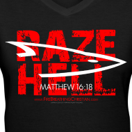 Design ~ RAZE HELL (Multicolor on Black Women's V-Neck) Version 1