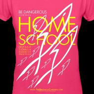 Design ~ HOME SCHOOL (Multicolor on Pink Women's V-Neck) Version 4