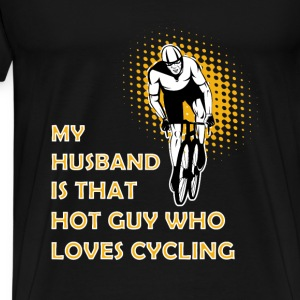 Cycling T-shirt - My husband is cycling - Men's Premium T-Shirt