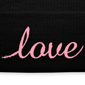 Love - Knit Cap with Cuff Print