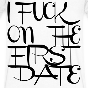 I fuck on the first date T-Shirts - Men's V-Neck T-Shirt by Canvas