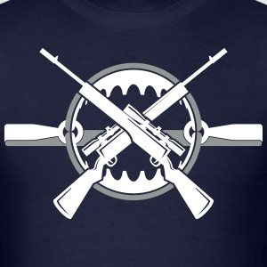 Crossed rifles over bear trap T-Shirts - Men's T-Shirt