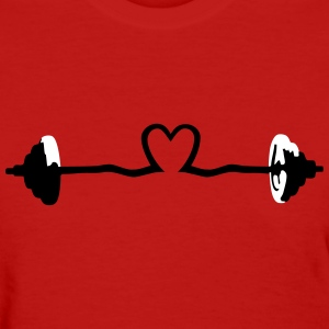 weightlifting - barbell and heart Women's T-Shirts - Women's T-Shirt