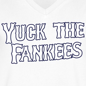 Yuck the Fankees Funny Baseball  T-Shirts - Men's V-Neck T-Shirt by Canvas
